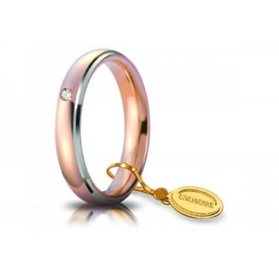 Fede comoda 4mm in oro rosso con bordi bianchi rodiati e diamante