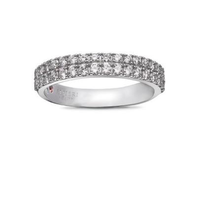 Alfieri & St. John anello veretta con diamanti in oro bianco collezione 1920
